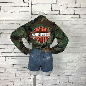 Harley Davidson Camo Military Jacket Button 1992